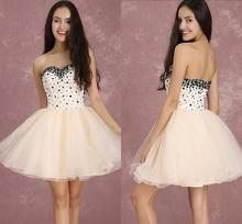 Champagne Cocktail Dresses Mini Sweetheart Strapless Short Prom Dress Tulle Beading Boned Homecoming Party