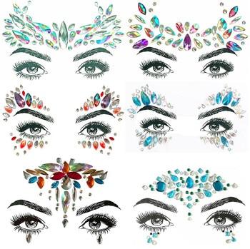 1PC Christmas DIY Eyebrow Face Body Art Adhesive Crystal Glitter Jewels Festival Party Eye Tattoo Stickers Makeup Xmas Decor 1