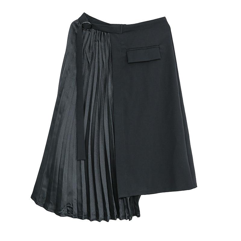 LANMREM Spring New Korean Fashion Pleated Split Joint Irregular Half-body Skirt Personality Black Bottoms For Women 2020 YH782