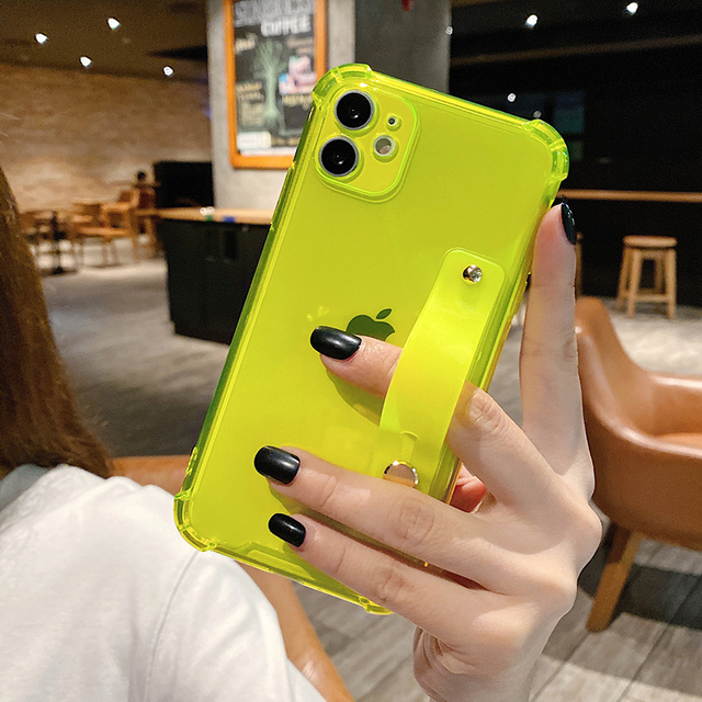 Wrist Strap Clear Phone Case For iPhone 12 11Pro Max XR XS Max 7 8 Plus X XS 11Pro SE 2020 Soft TPU Shockproof Holder Back Cover 2