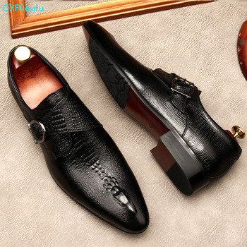 QYFCIOUFU Italian buckle Genuine Leather Mens Oxford Dress Shoes Male Party Wedding Office Black brown Brogue Formal Shoes ovxuan genuine leather wedding shoes italian style brogue business formal dress men shoes luxury office party oxfords mens shoes