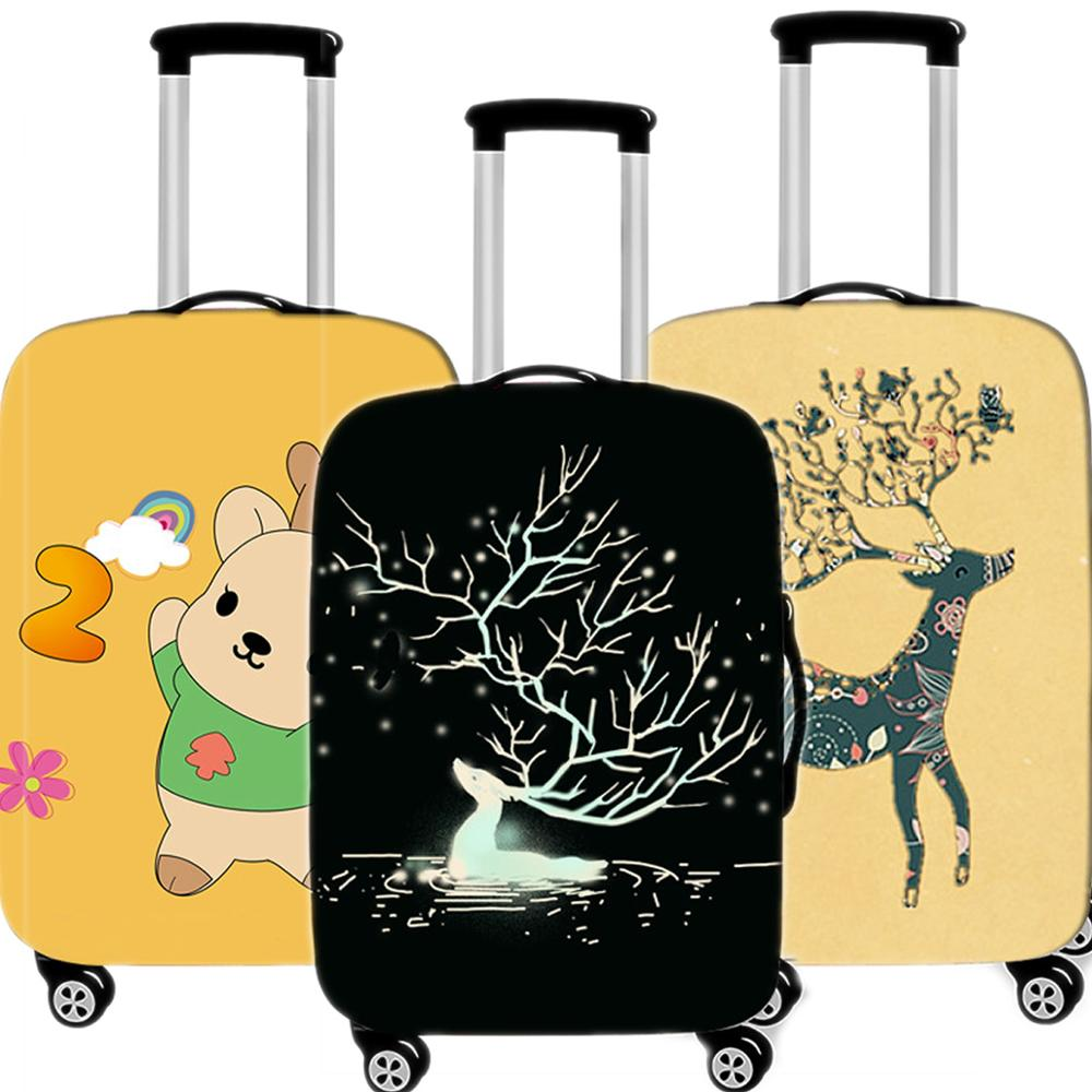 Travel Accessories Cartoon Deer Luggage Case Protective Cover Waterproof Thicken Elastic Women Suitcase Trunk Case 18-32 Inch XL