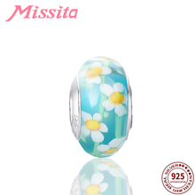 MISSITA 925 Sterling Silver Romantic Daisy Murano Glass Beads Charms for DIY Bracelets fit Pandora Women Accessories