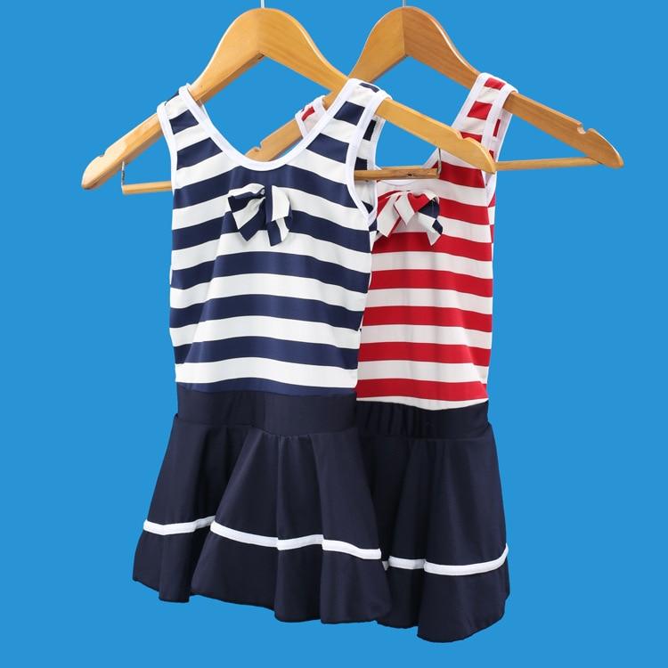 KID'S Swimwear Big Boy GIRL'S Split Skirt-Princess Stripes Navy Style Boxer GIRL'S Swimsuit Cute Small CHILDREN'S