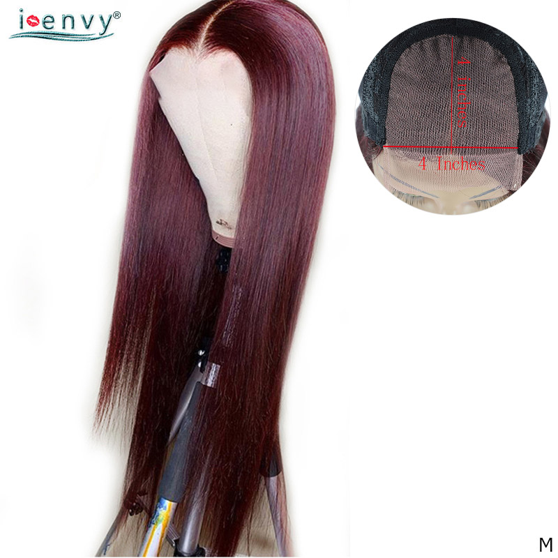 Burgundy Peruvian Straight Lace Wigs For Black Women Dark Red 99J 4X4 Lace Closure Human Hair Wigs 150% Lace Wigs Non-Remy