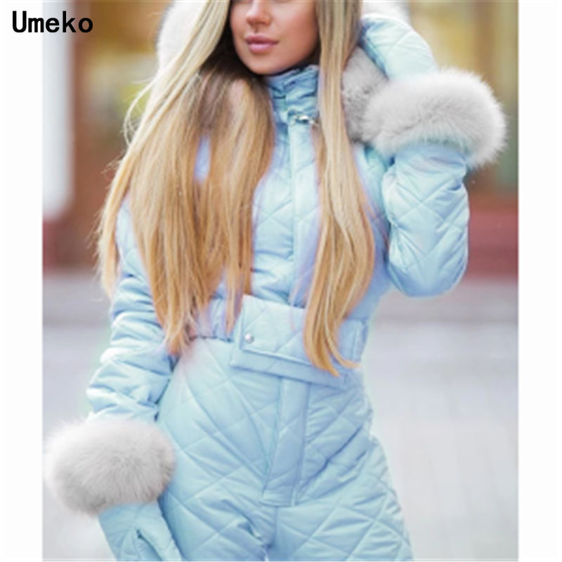 Umeko Chic Winter Hooded Jumpsuits Parka Cotton Padded Warm Sashes Ski Suit Straight Zipper One Piece Women Casual Tracksuits
