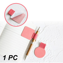 1pc Climemo Brand Pen Clip, PU Leather Pen Holder, Self-adhesive Pencil Elastic Loop for Notebooks Journals Clipboards