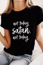 Women Not Today Satan Not Today Summer Tee Casual Ladies Hipster Black Letters Floral Funny Top Short Sleeve T-Shirt(China)