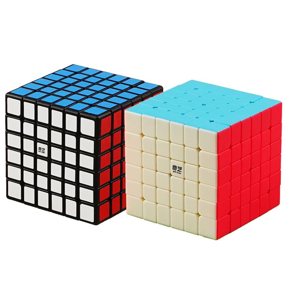 Qiyi Профессиональный скоростной куб черный и стикерл QiYi 7x7x7 6x6x6 волшебный куб MofangJiaoshi 4x4 5x5 скоростная игрушка-головоломка