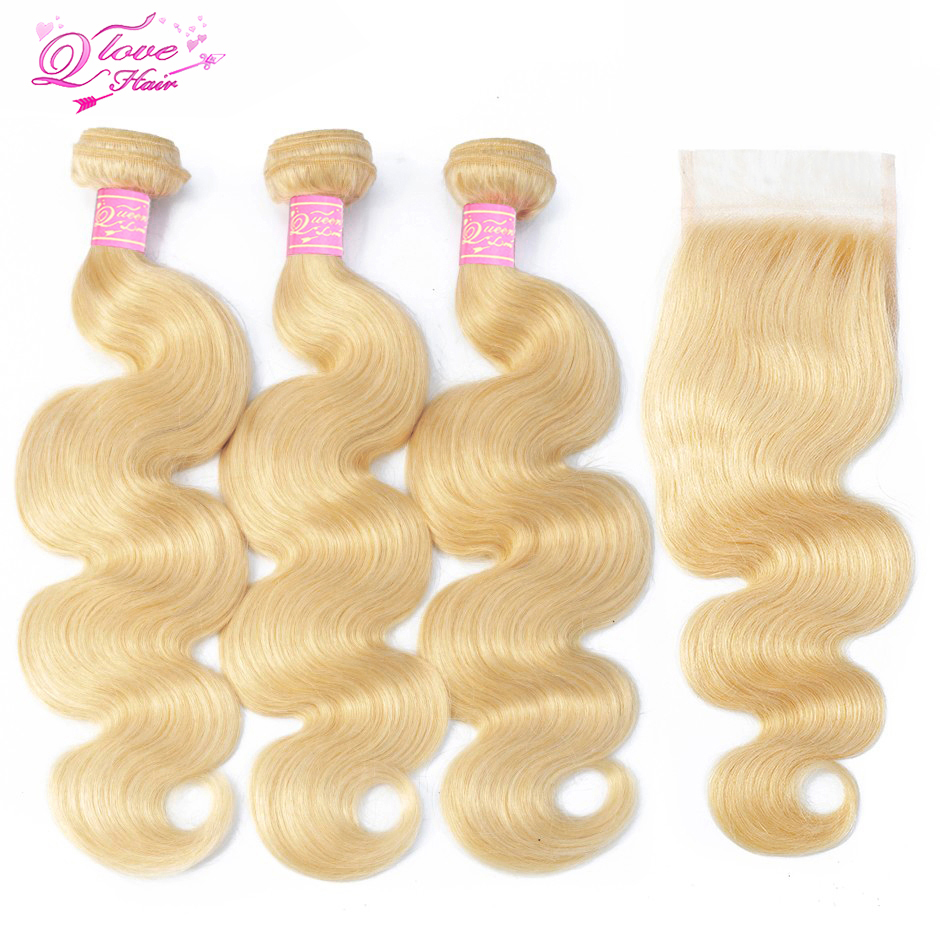 Queen Love Hair Brazilian Body Wave 613 Blonde Human Hair 3 Bundles With Closure Remy Hair Extension 10-26inch Hair