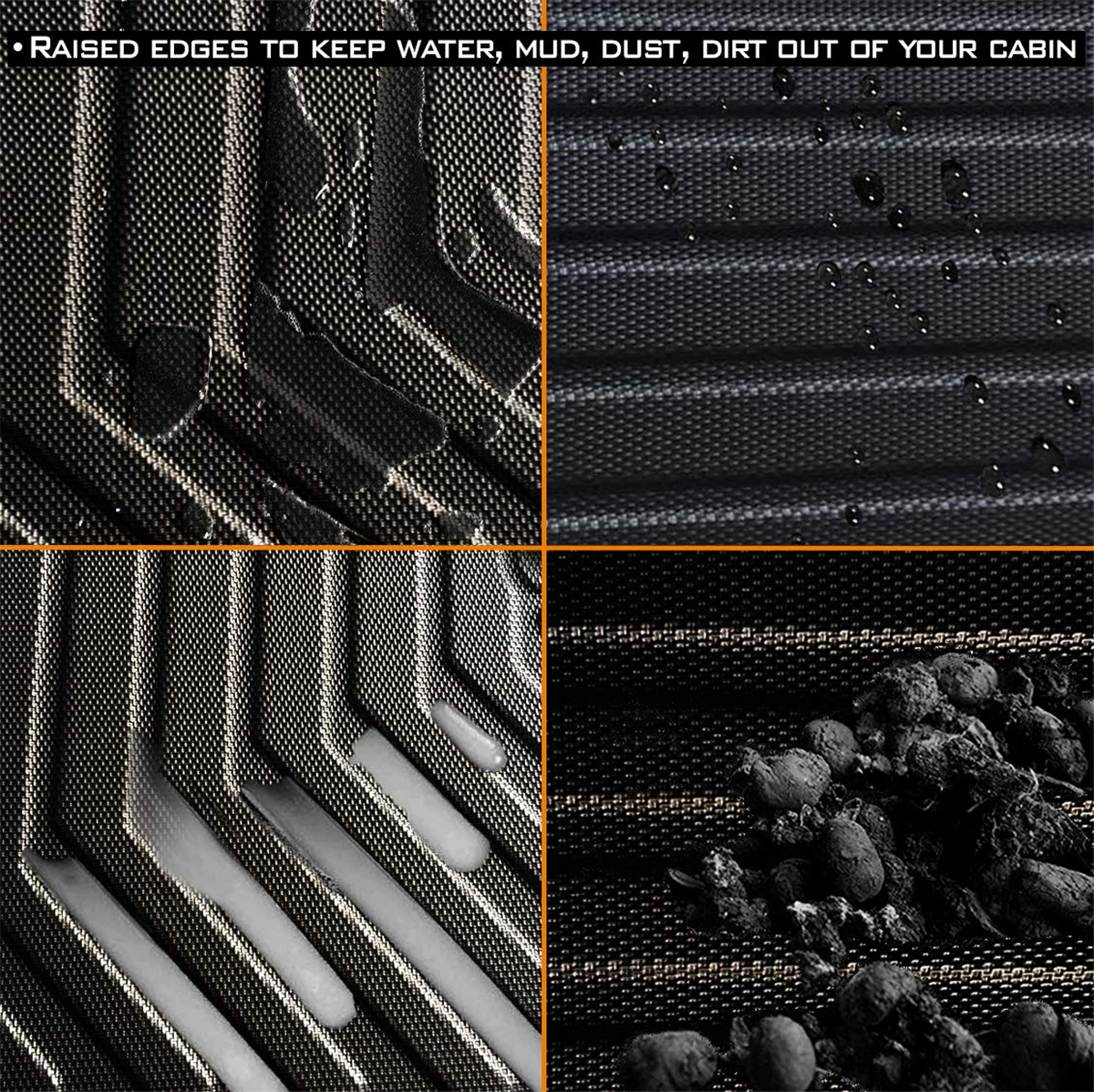 Audew 3 uds TPO frontal y trasero negro alfombrilla de suelo de coche ajuste personalizado todo clima suelo alfombra cubierta para Tesla modelo 3 impermeable Durable - 5
