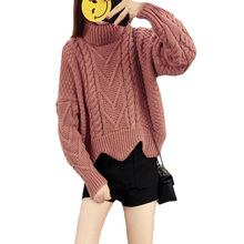 Women Basic Sweaters Thickened Autumn Winter Tops Korean Style Loose Twist Knitted Short Design Pullover Turtleneck Soft Sweater