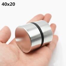 2 個ネオジムマグネット N52 40 × 20 ミリメートルスーパーストロングラウンド希土類強力なネオジムガリウム金属磁気スピーカー n35 40*20 ディスク