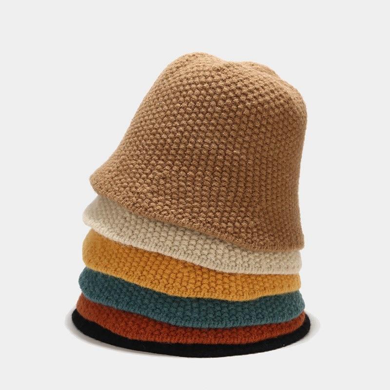 Oloey 가을 니트 기본 따뜻한 양동이 모자 여성을위한 패션 수제 소프트 돔 모자 여성 솔리드 우아한 어부 모자 새로운