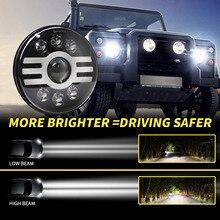 Faro LED redondo para coche, 7 pulgadas, 500W, tipo H, superbrillante, enchufe H4, arnés de cable H13, repuesto para Jeep Wrangler Land Rover