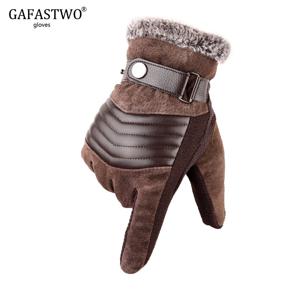 Winter Thicken Plus Velvet Warm Leather Gloves Mens Touch Screen Multiple Styles Riding Cold Windproof Gloves