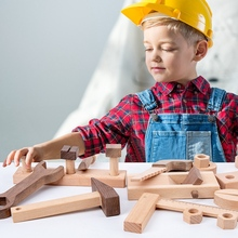 Toy Tool-Box Working-Toy-Set Construction-Toy Disassembly Wooden Kids Screw-Nut-Combination