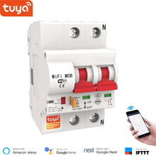 Tuya Smart WiFi Circuit Breaker 2P  Automatic Switch Overload Short Circuit Protection Alexa Google Home Compatible Smart Life