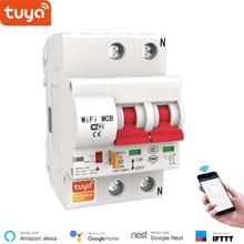 Tuya disjuntor inteligente wifi, disjuntor sem fio 2p, interruptor automático, proteção contra curto circuito, compatível com alexa do google home