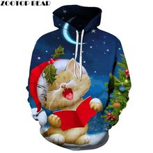 ZOOTOP BEAR Brand 3D Print Casual Fashion Hoodies Christmas Sweatshirts Sport Hoodies Men 2019 Cat Reading A Book Dropshopping(China)