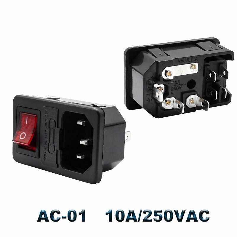 IEC320 C14 Elektrische Ac Socket 3 Pin Rode Led 250V Tuimelschakelaar 10A Zekering Vrouwelijke Mannelijke Inlet Plug Connector 2 Pin Socket Mount