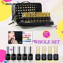 120pcs * 12ml VENALISA เจลเคลือบเงาทั้งชุดเล็บ Salon ใช้เจลภาษาโปลิชคำชุดหรูหราสี Shining glitter Starry Soak OFF
