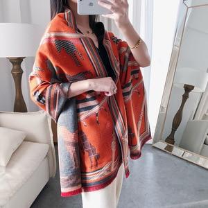 Image 4 - Kaszmirowy szalik zimowy kobiety ciepły gruby Pashmina modny nadruk szale końskie okłady pani miękkie Blanked szaliki chustka