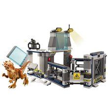 75927 jurássico mundo blocos de construção jurássico mundo breakout observação deck laboratório bloco de construção compatível dinossauro brinquedos