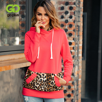 GOPLUS 2020 Autumn And Winter New Women Hoodie Leopard Stitching Long Sleeve Casual Printing Hooded For
