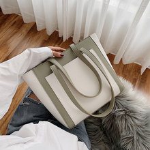 Contrast Color PU Leather Shoulder Bags for Women 2020 Female Luxury High Capacity Handbags Lady Winter Quality Hand Bag