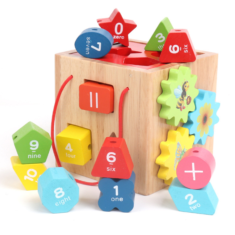 Numbers Montessori Educational Wooden Toys For Children 1/2/3 Year Geometric Shapes Math Toys Lacing Wooden Montessori Toy Box