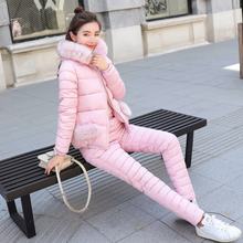 2020 Winter Women Down Cotton-padded Jacket +Pants Suit Female Thick Warm Cotton Down Coat Outwear 2Pcs Set Tracksuit AQ556(China)
