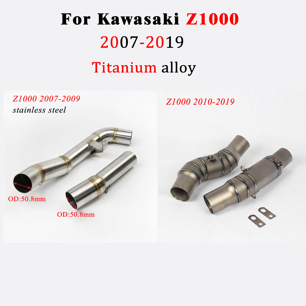 Stainless Steel Motorcycle Exhaust Middle Pipe Link Connect Muffler Tail Pipe for Kawasaki Z1000 2010-2016 Motorcycle Exhaust Middle Pipe Tailpipe Kit