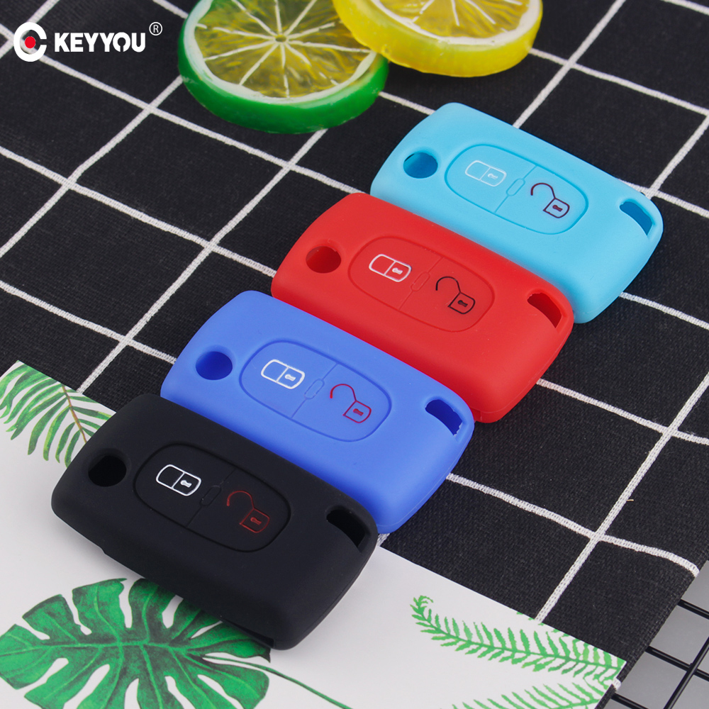 KEYYOU 2 Buttons Silicone Remote <font><b>Key</b></font> <font><b>Case</b></font> <font><b>Protect</b></font> Cover For <font><b>Peugeot</b></font> 107 207 <font><b>307</b></font> 307S 308 407 607 For Citroen C2 C3 C4 C5 C6 C8 image