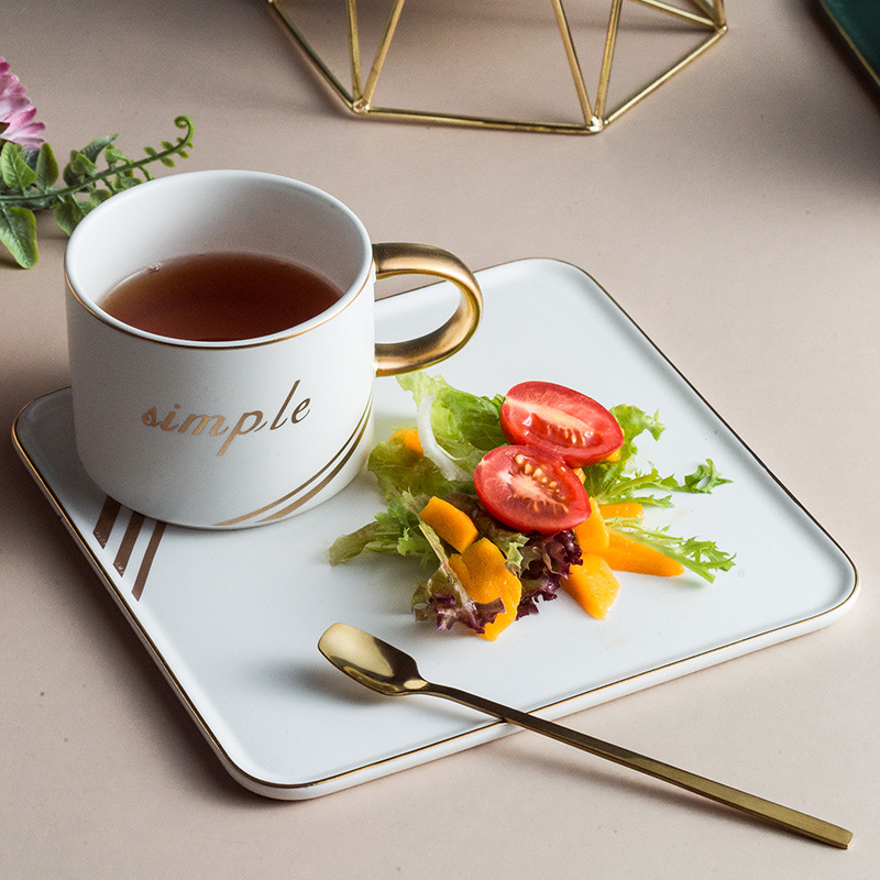 Nordic ins ceramic coffee cup set with tray snack breakfeast saucers suit to afternoon plate mug cup with spoon cafe home deco in Mugs from Home Garden