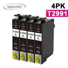 Topcolor 4PK T2991 Black Ink Cartridge Compatible Epson T29 2991 BK 29XL for Epson Printer XP-332 XP-335 XP-342 XP-345 XP-247 t2971 ink cartridge xp231 xp241 t2971 t2964 ink cartridge with one time chip for epson xp231 xp 231 xp 241 xp 431 inkjet printer