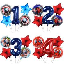 Ballons Marvel Spiderman Captain America en aluminium, 5 pièces, 32 pouces, gonflables, cadeaux d'anniversaire pour enfants, décoration de réception-cadeau pour bébé