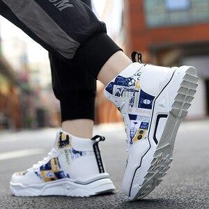 Image 3 - חורף גברים נעליים גבוהה למעלה גברים של נעליים יומיומיות לבן חם מקרית בד shoeshoes גובה הגדלת ללבוש עמיד עור