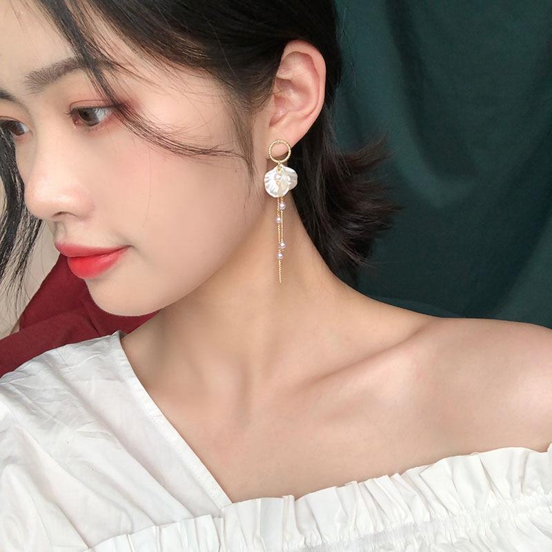 Tassel Earring Long Dangle White Shell Petal Gold Zircon Fashion Sweet Simple Style Pendientes Bohemia  Jewelry For Girls EF53