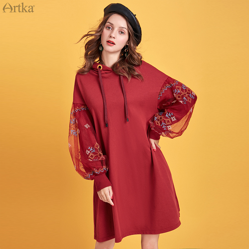 ARTKA 2019 Autumn Winter New Women Sweatshirt Vintage Mesh Embroidery Sweatshirt Hooded Pullover Long Sweatshirt Dress VA15095D