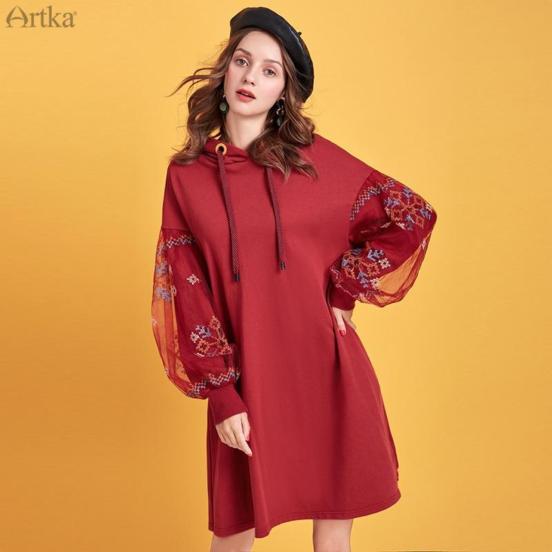 ARTKA 2019 Autumn Winter New Women Sweatshirt Vintage Mesh Embroidery Sweatshirt Hooded Pullover Long Sweatshirt Dress VA15095D