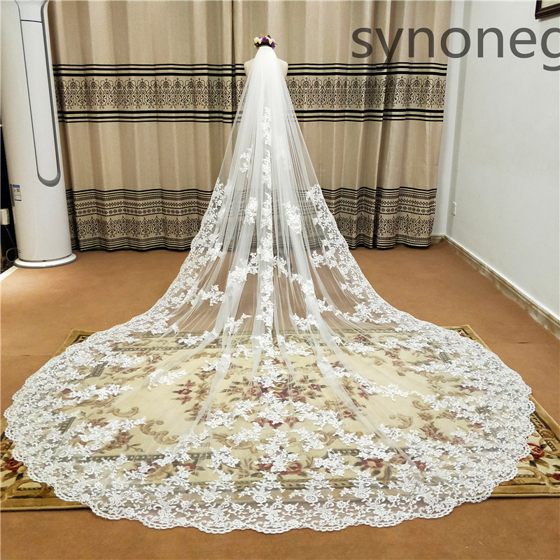 New Pattern Cathedral Length Bridal Veil Lace Veil Wide Veil 1 Layer Wedding Veil Metal Comb Real Photo