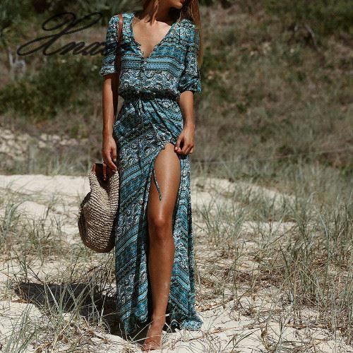 Summer Women Dress Bohemian Style Long Maxi Dress Vestidos De Festa Female Beach Floral Print Vintage Clothes