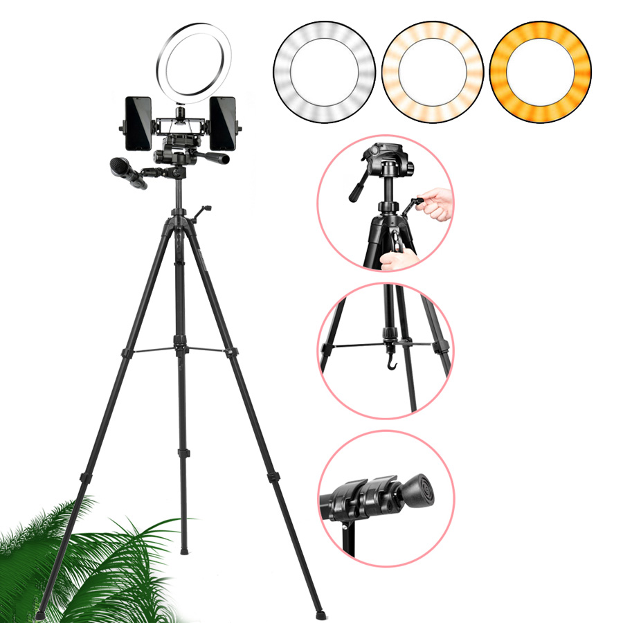 26cm 10 inch LED Ring Light Dimmable Mobile Phone Telescopic Tripod For Smart Cell Phone DSLR SLR Digital Camera Stand Holders
