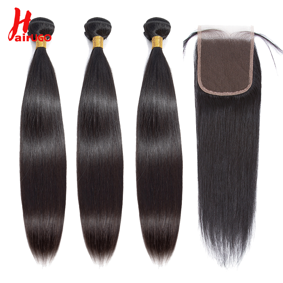 HairUGo Straight Hair Bundles With Closure Brazilian Hair Weave Human Hair Bundle With Closure Double Weft Non Remy Hair Weaving