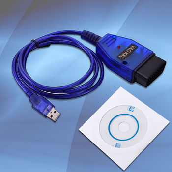 USB Cable KKL VAG-COM 409.1 For OBD2 II Diagnostic Scanner VW/Audi/Seat laptop or PC software drive image