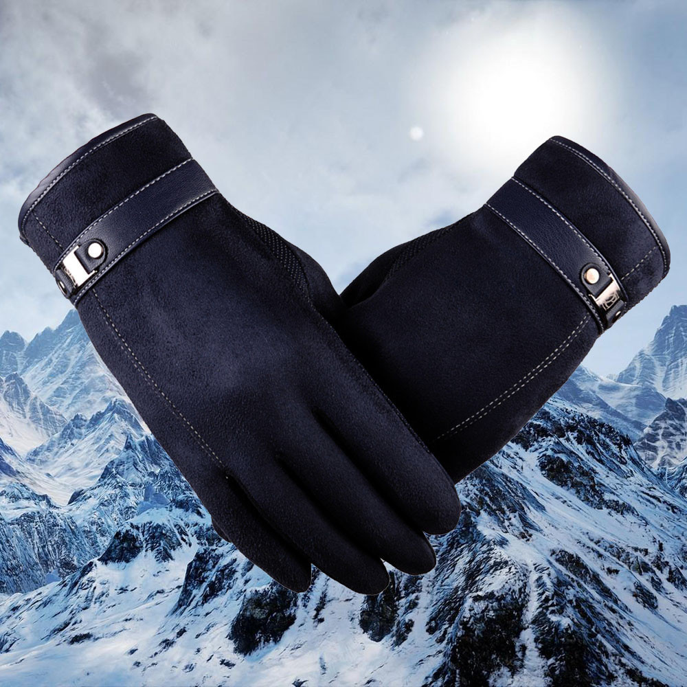 Winter Gloves Men Fashion Windproof Anti Slip Black Gloves Outdoor Sport Motorcycle Ski Gloves Winter Keep Warm Mittens For Men