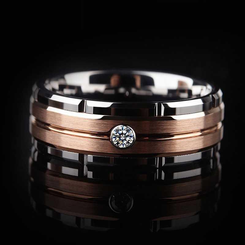 8mm erkek Tungsten karbür alyans gümüş gül altın CZ taş yüzük özel tasarım yıldönümü hediyesi moda aksesuarları