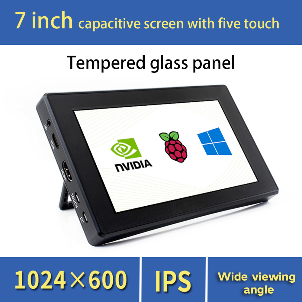 7 inch Monitor Gaming Capacitive Touch Screen for Raspberry Pie 4 Portable HDMI HD Display IPS Screen Tempered Glass Monitor image