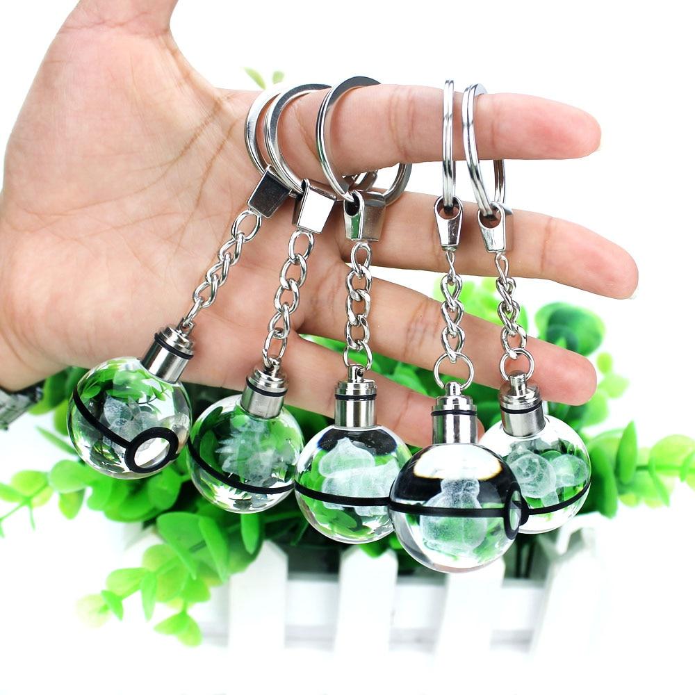 Hot Sell Charmander Eevee 3D Engraving Glass Ball Lamp Pokemon Go Novelty Light LED Keychain Colorful Pendant Child's Gift